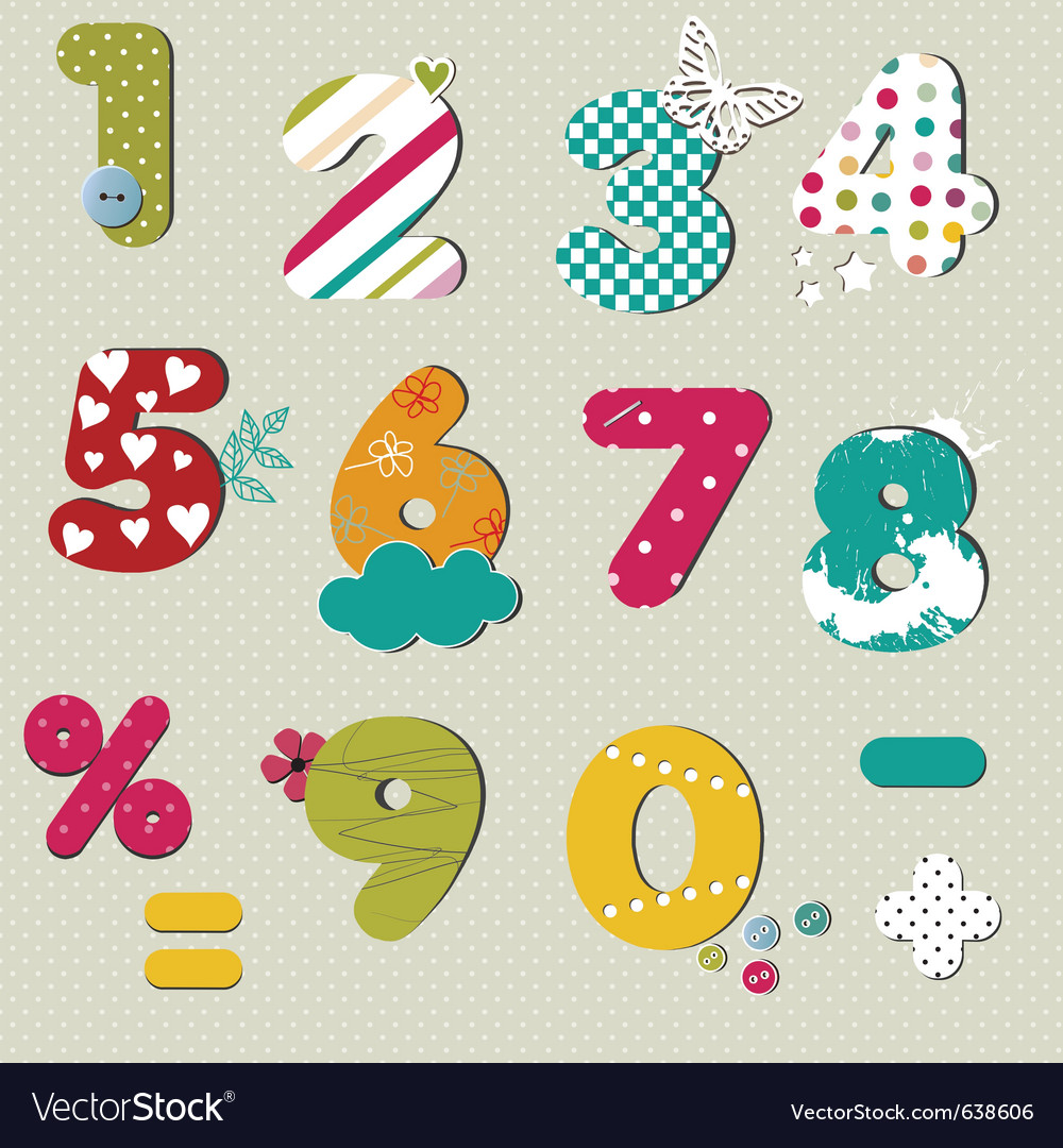 Colorful numbers set vector | Price: 1 Credit (USD $1)