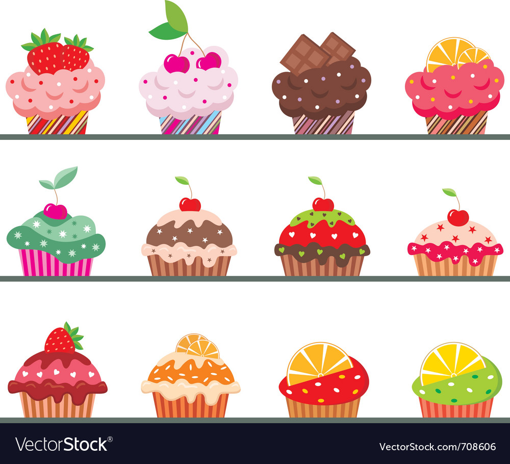 Cupcakes on a regiment vector | Price: 1 Credit (USD $1)