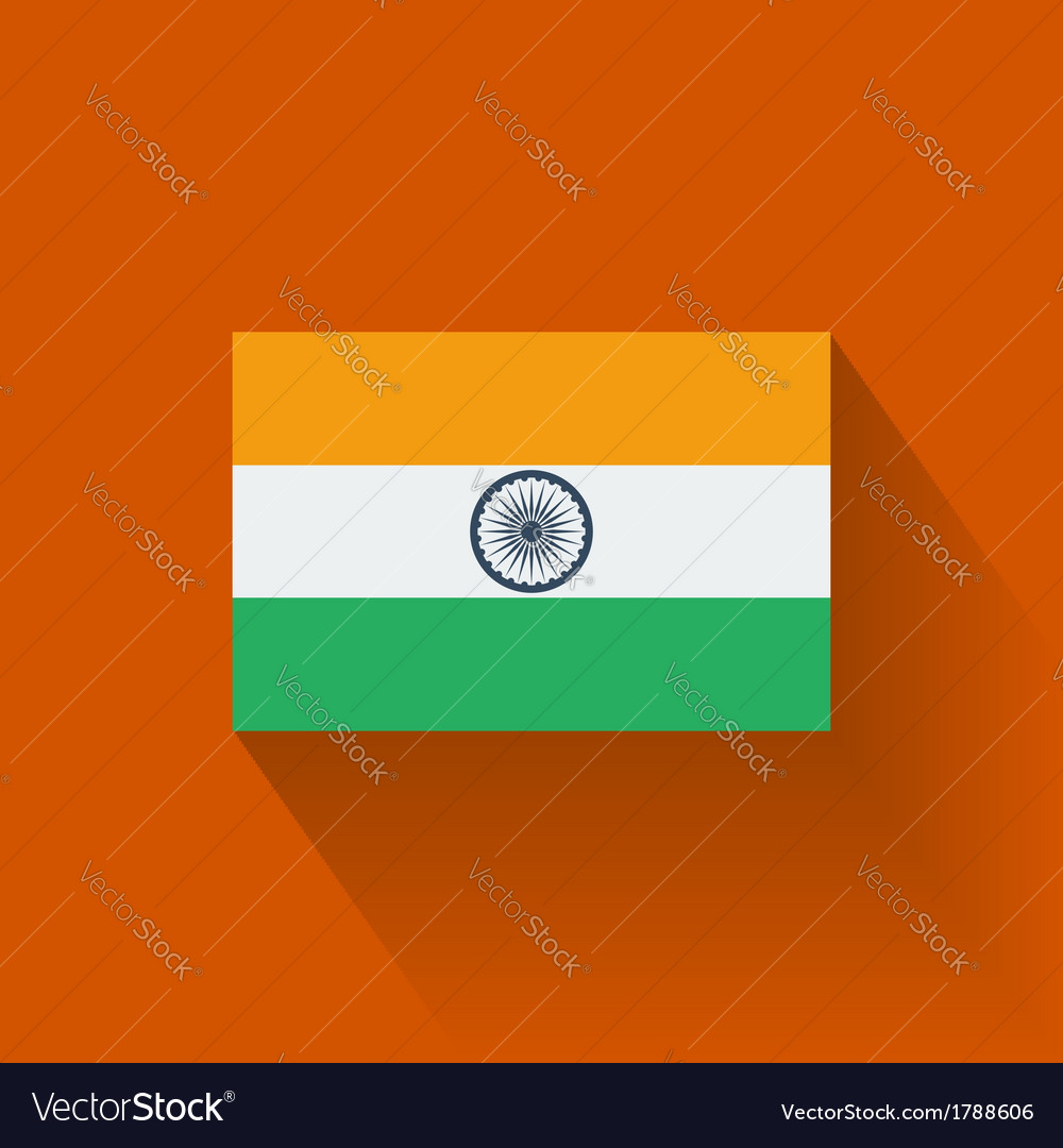 Flat flag of india vector | Price: 1 Credit (USD $1)