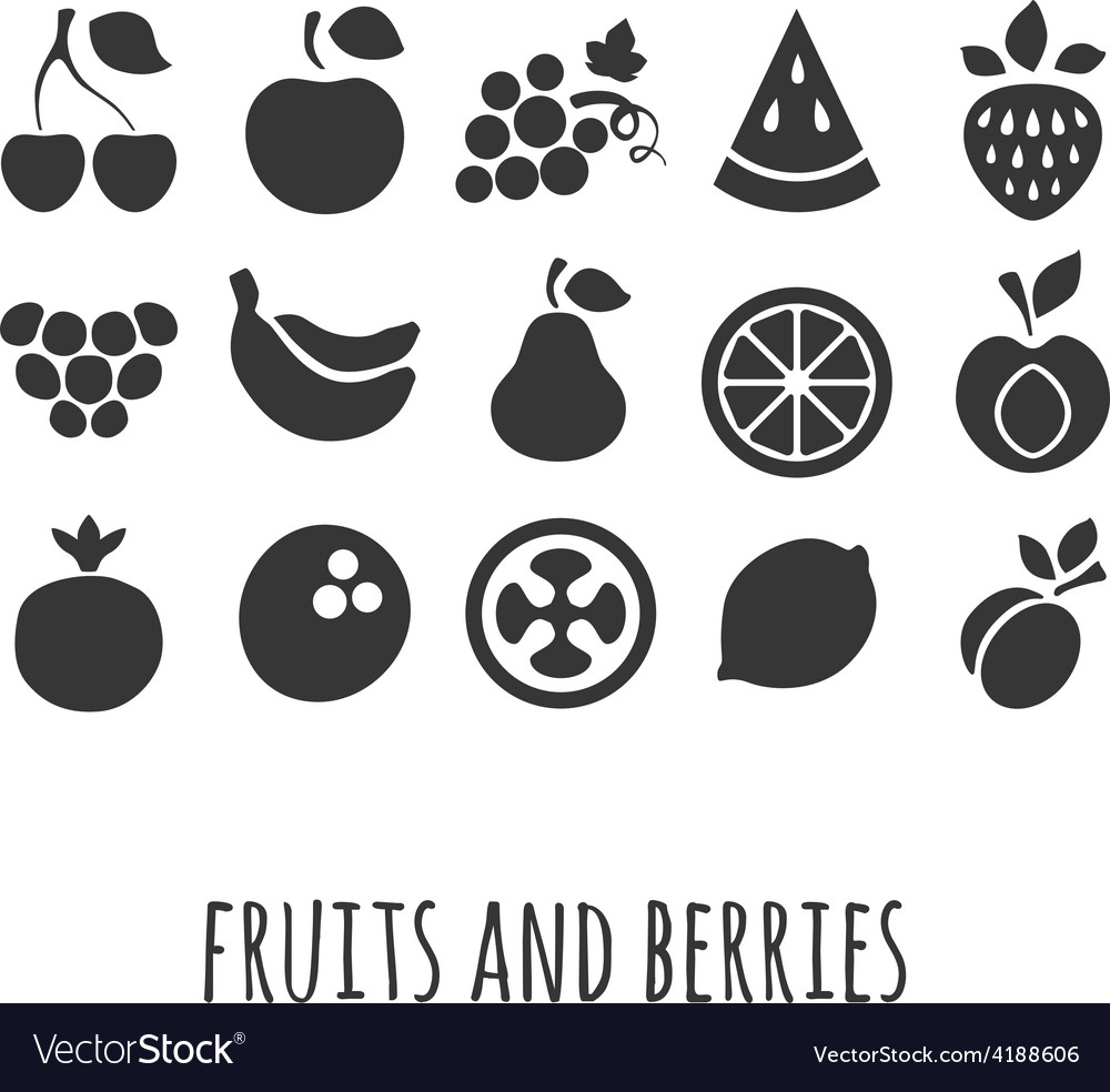 Icon set with other fruits and berries vector | Price: 1 Credit (USD $1)