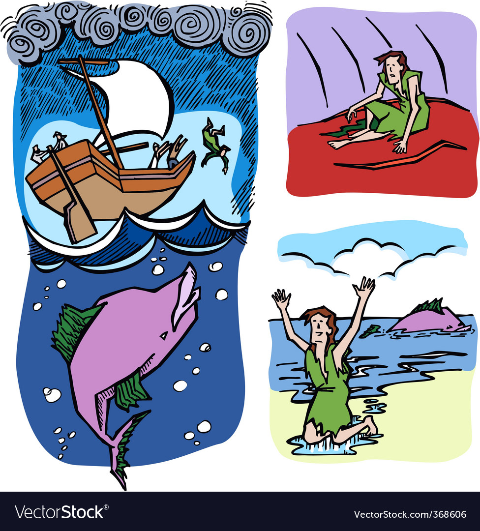 Jonah and the whale vector | Price: 1 Credit (USD $1)