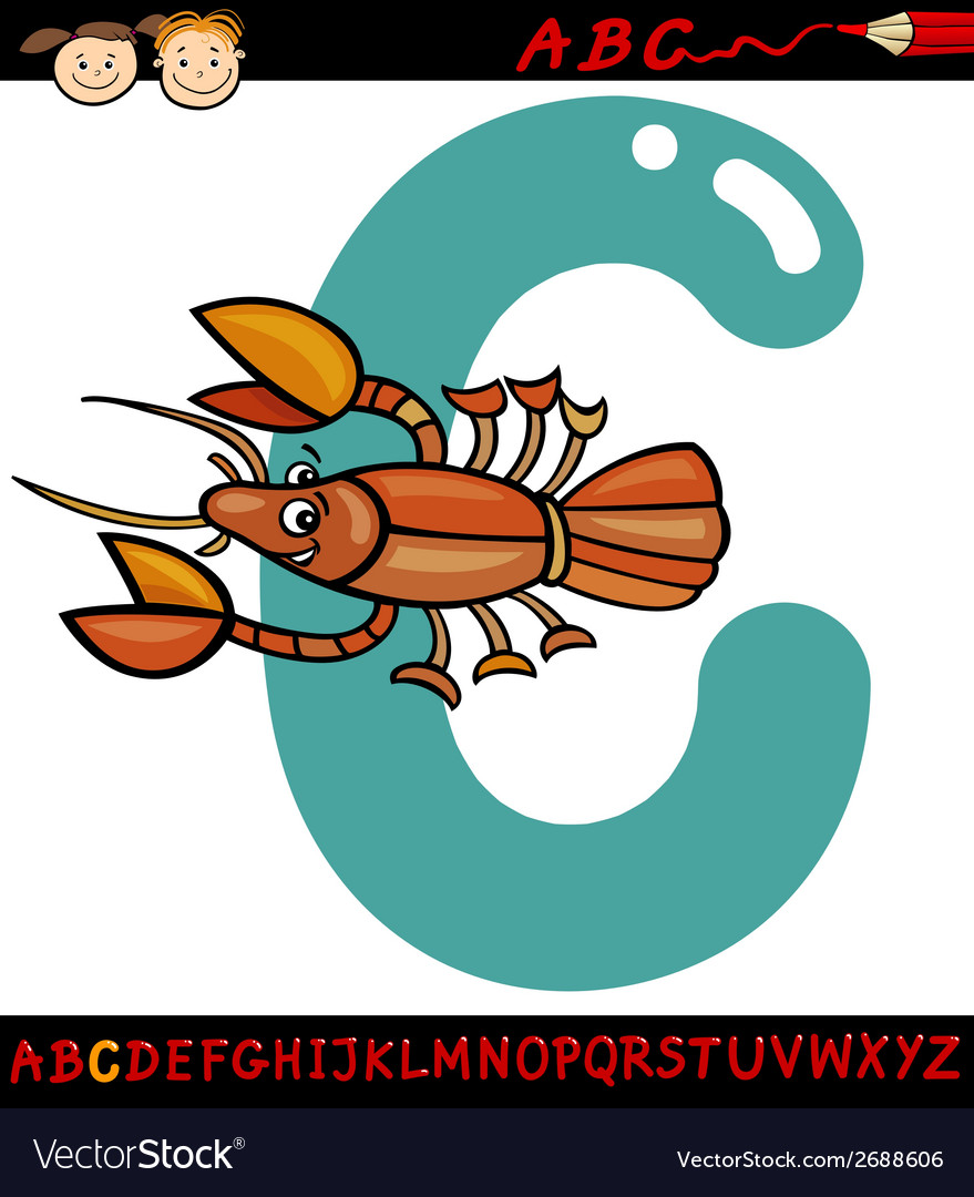 Letter c for crayfish cartoon vector | Price: 1 Credit (USD $1)