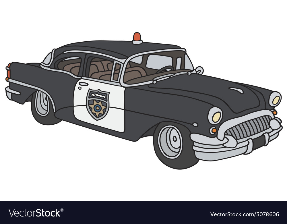 Old police car vector | Price: 1 Credit (USD $1)