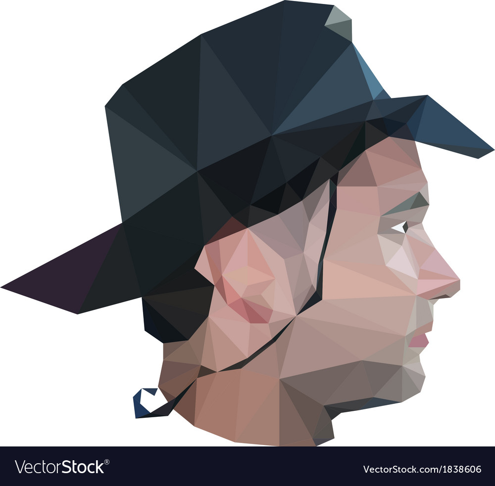 Profile of young man in origami style vector | Price: 1 Credit (USD $1)