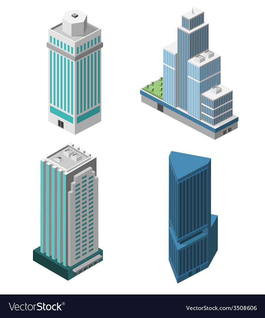 Skyscrapers offices set vector | Price: 1 Credit (USD $1)