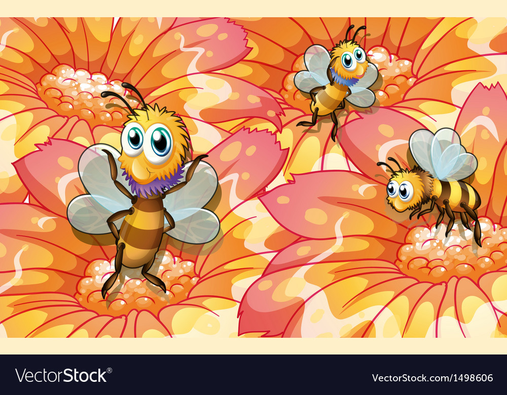 Three bees collecting foods vector | Price: 1 Credit (USD $1)
