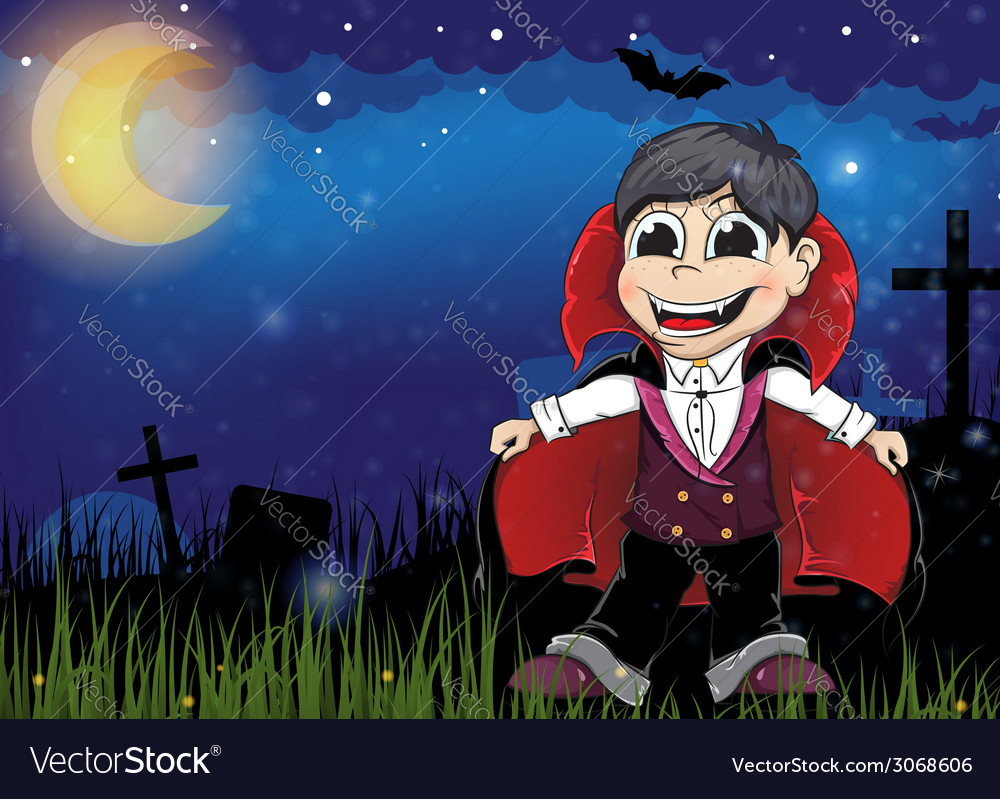 Vampire on a old cemetery vector | Price: 3 Credit (USD $3)