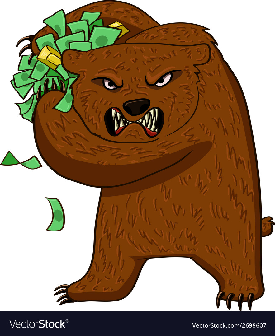 Angry bear with money vector | Price: 1 Credit (USD $1)
