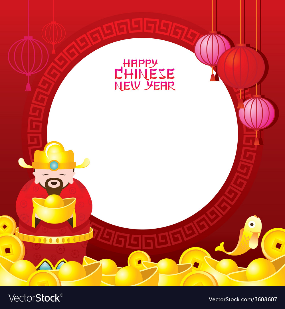 Chinese new year frame with chinese god vector | Price: 1 Credit (USD $1)