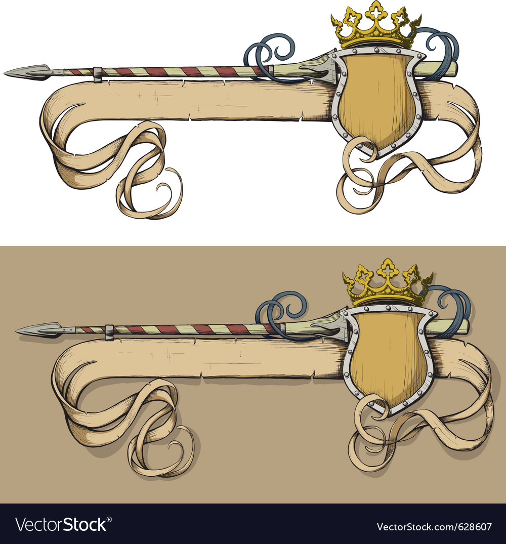 Color banner spear and crown vector | Price: 1 Credit (USD $1)