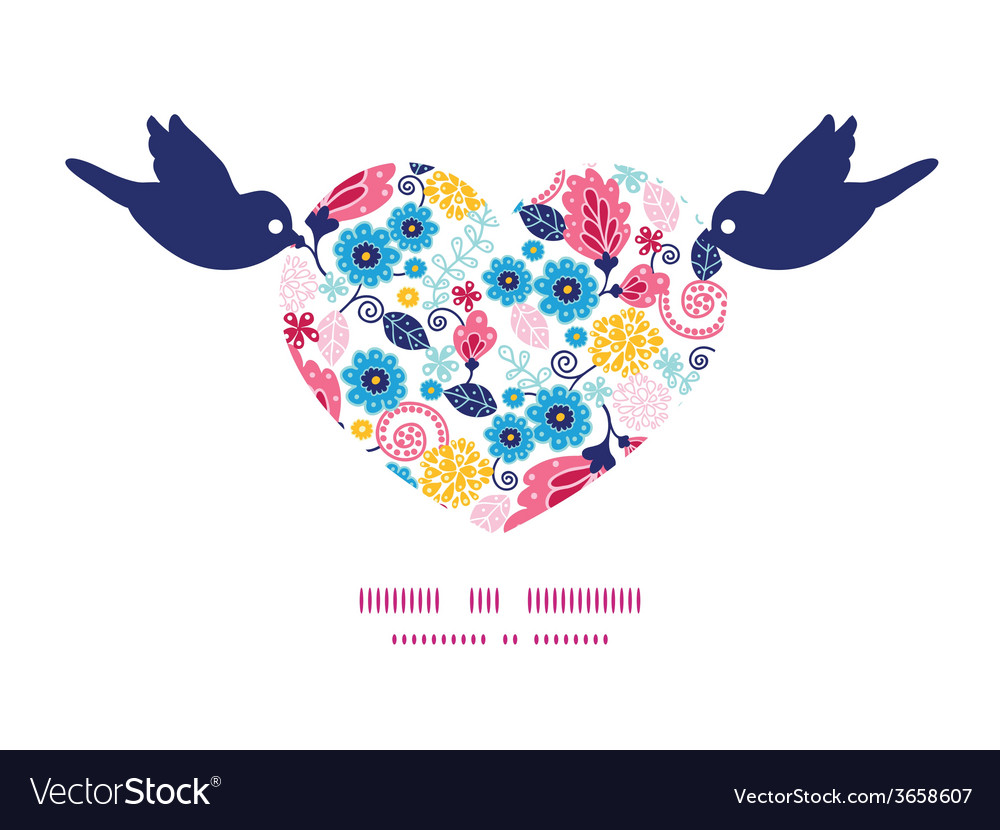Fairytale flowers birds holding heart silhouette vector | Price: 1 Credit (USD $1)