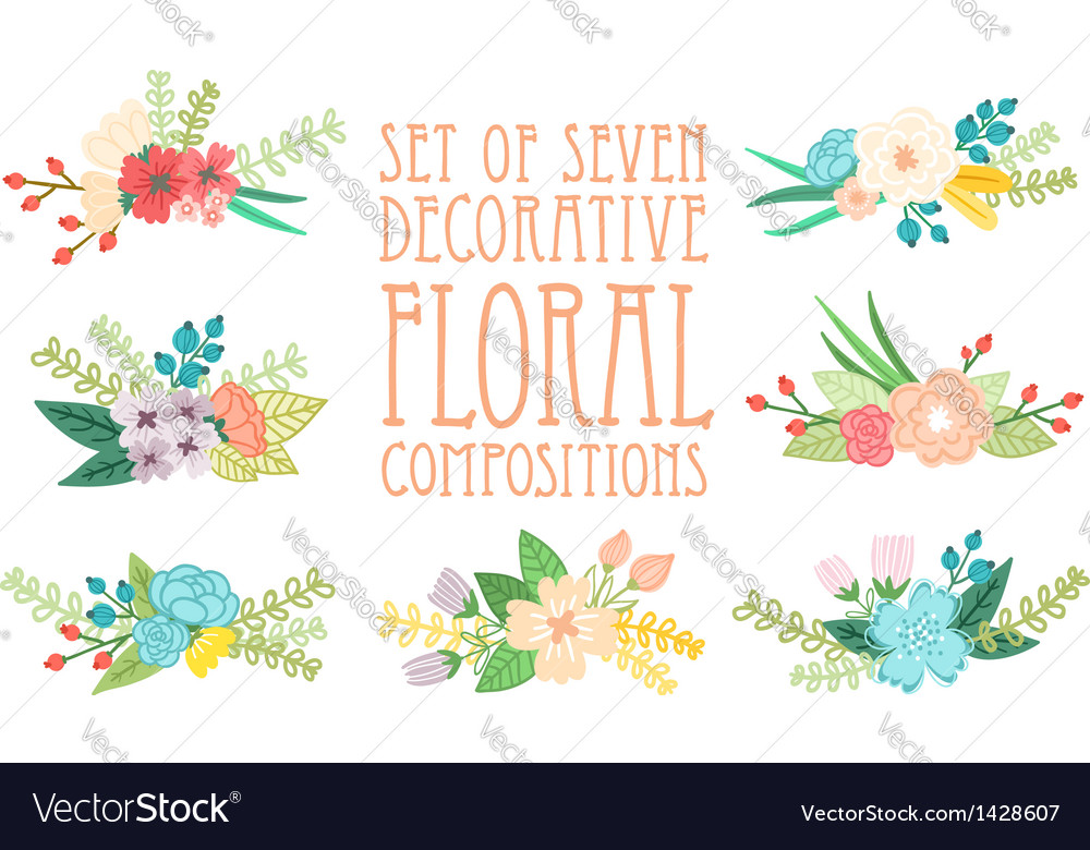 Floral compositions vector | Price: 3 Credit (USD $3)