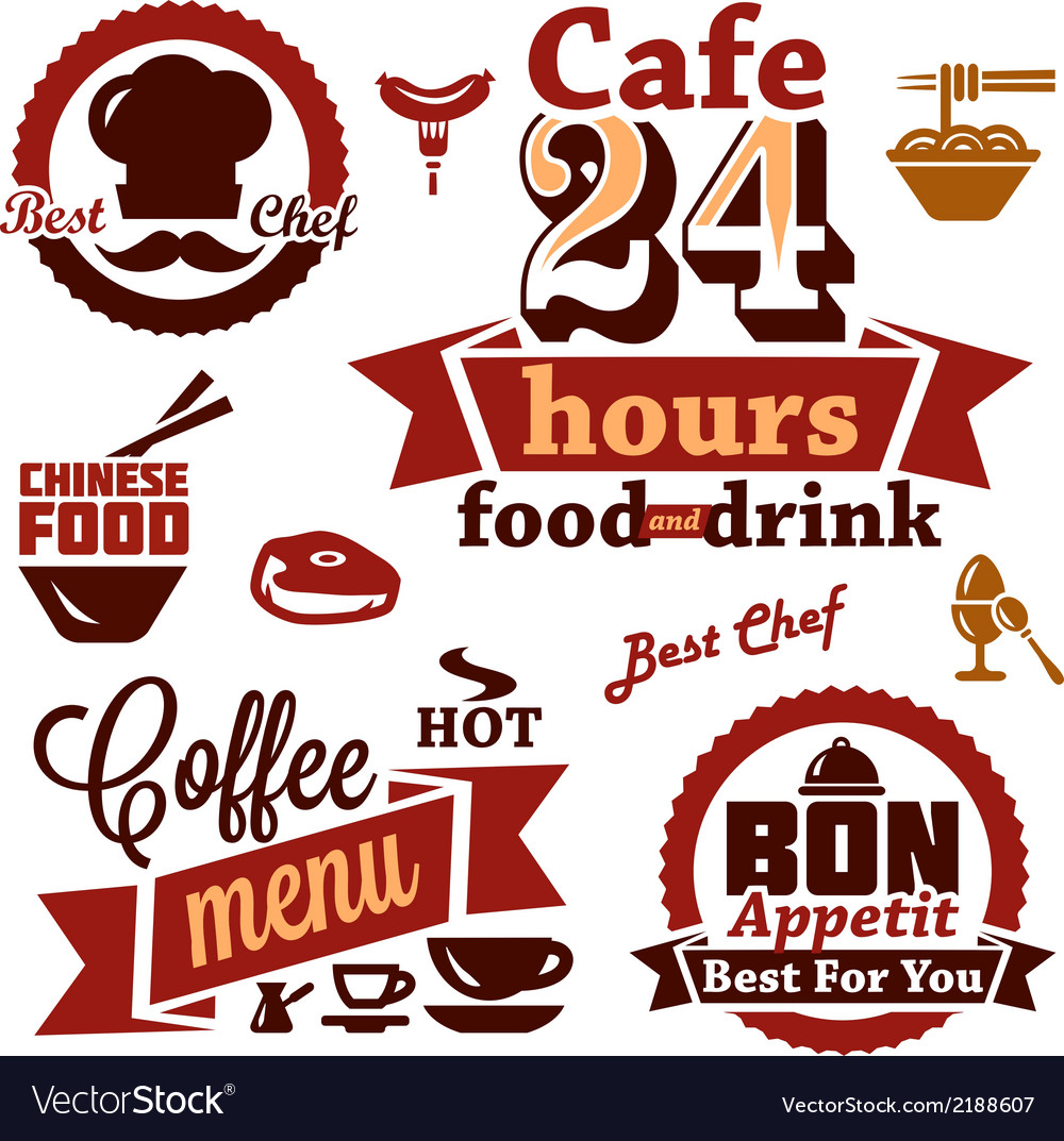 Food and restaurant labels icons vector | Price: 1 Credit (USD $1)