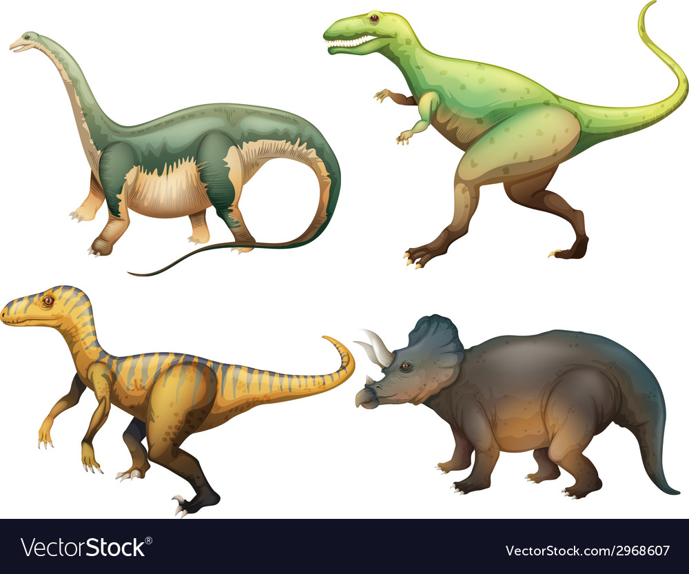 Four dinosaurs vector