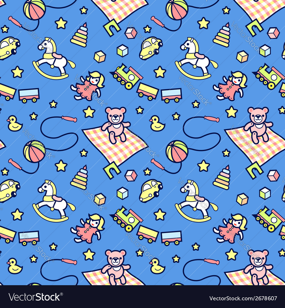 Kid pattern blue vector | Price: 1 Credit (USD $1)