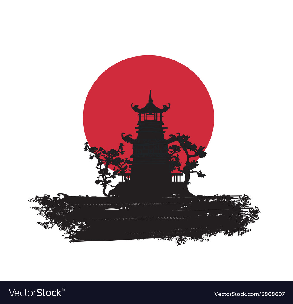 Old paper with asian landscape vector   Price: 1 Credit (USD $1)