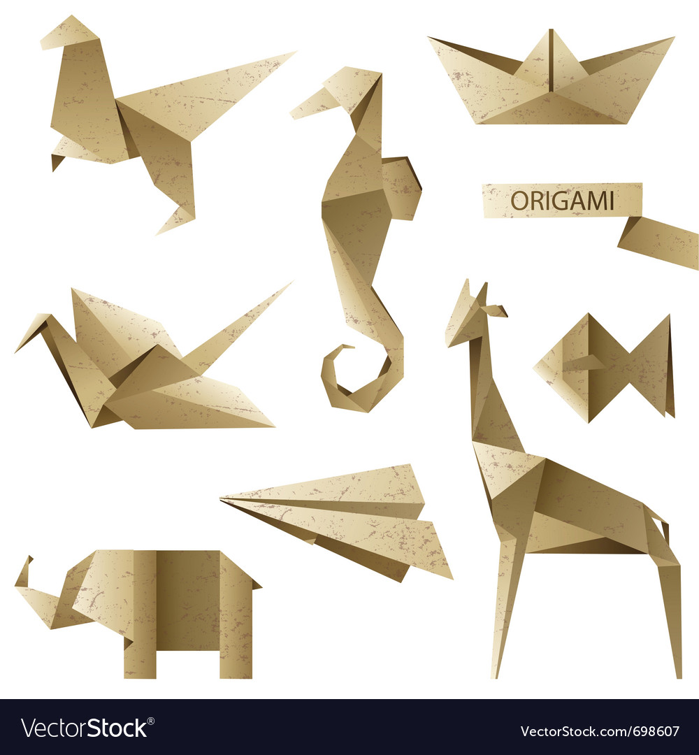 Old-fashioned origami set vector | Price: 3 Credit (USD $3)