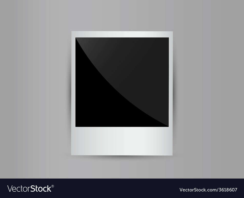 Retro 3d blank photo frame isolated on grey vector | Price: 1 Credit (USD $1)