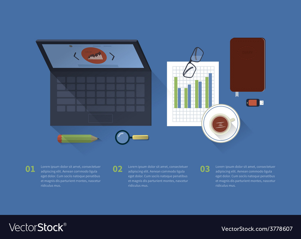 Table with a laptop background office facilities vector | Price: 1 Credit (USD $1)