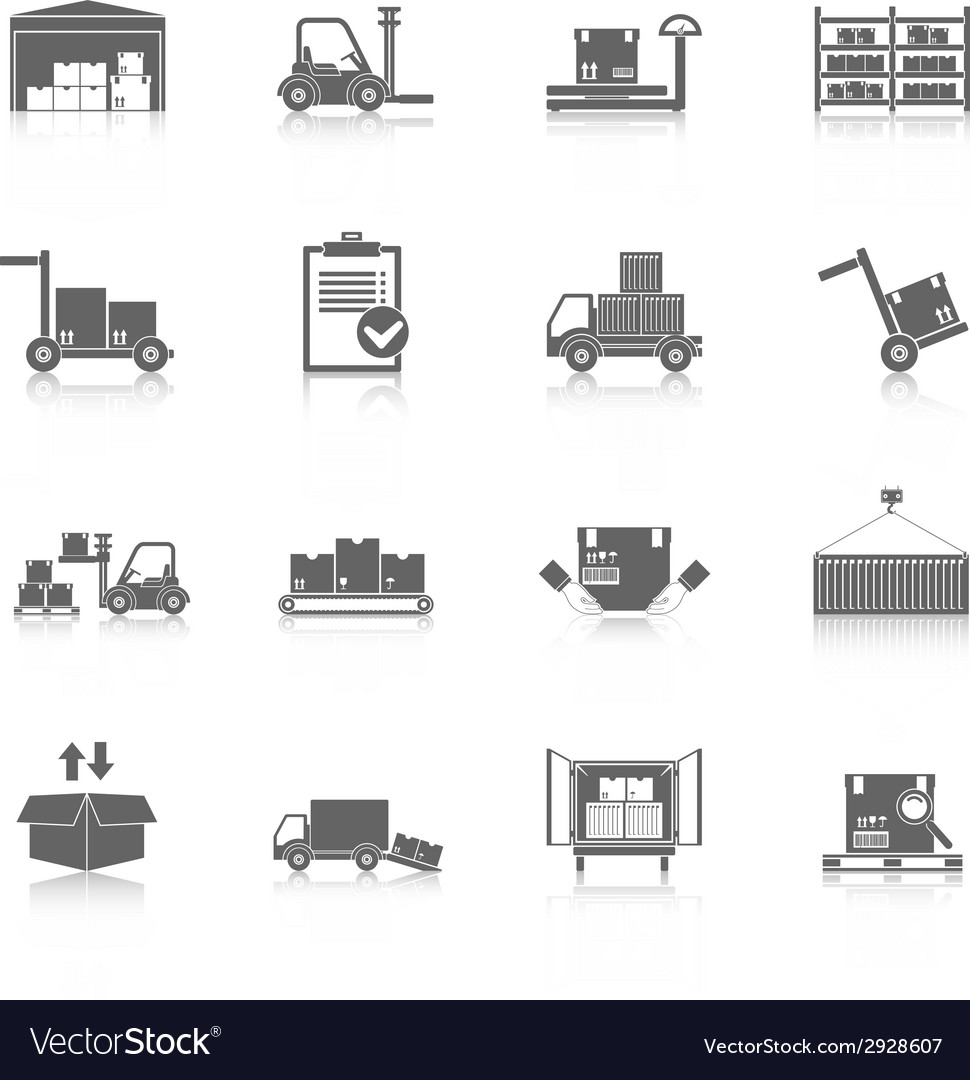 Warehouse icons black vector | Price: 1 Credit (USD $1)