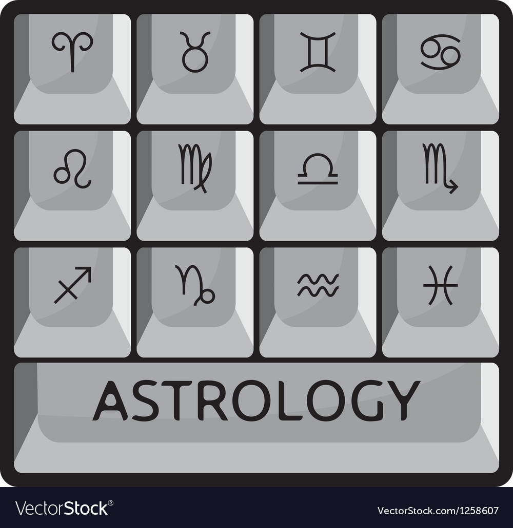 Zodiac astrology signs keyboard button set vector | Price: 1 Credit (USD $1)