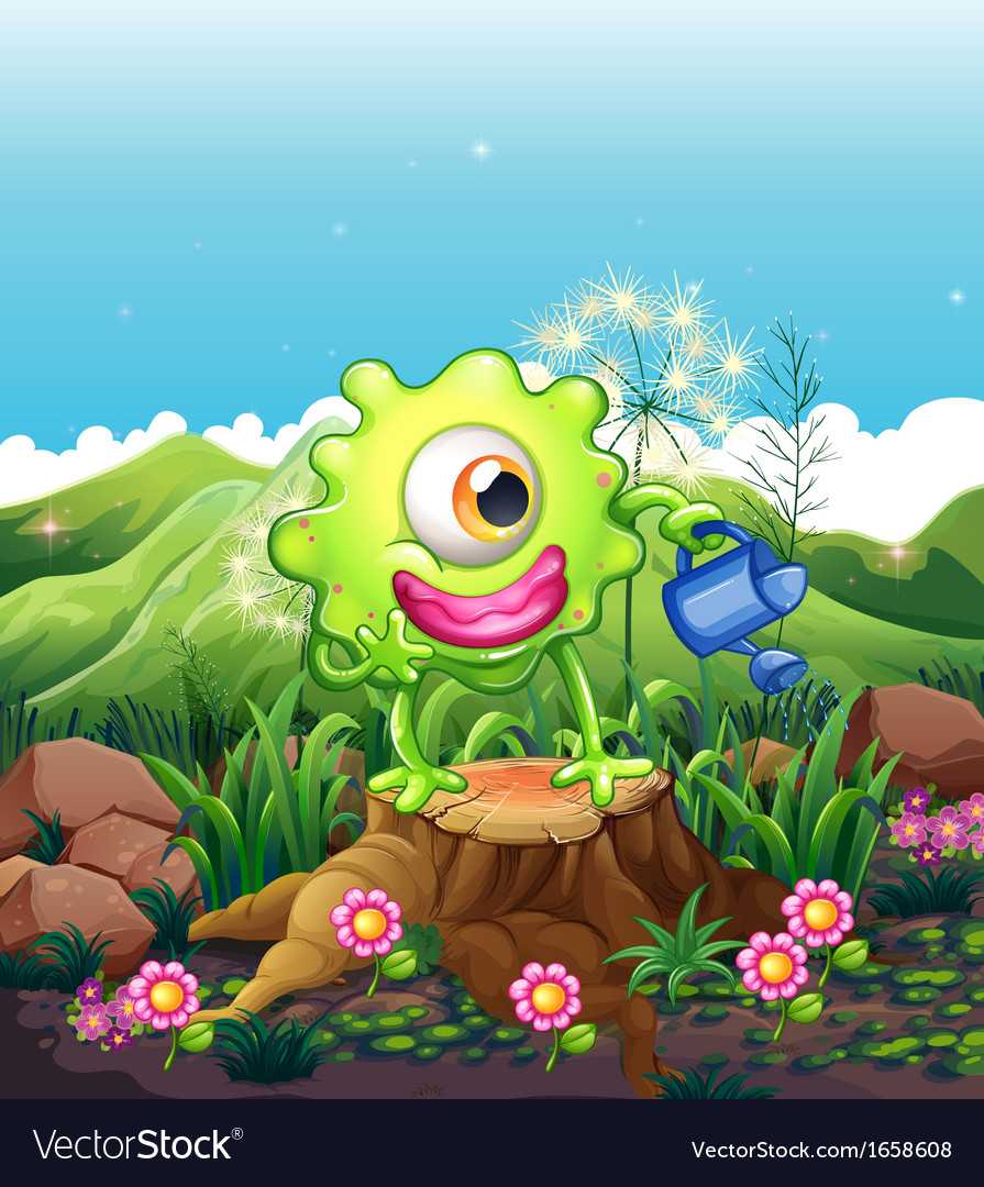 A monster above the stump watering the plants vector | Price: 3 Credit (USD $3)