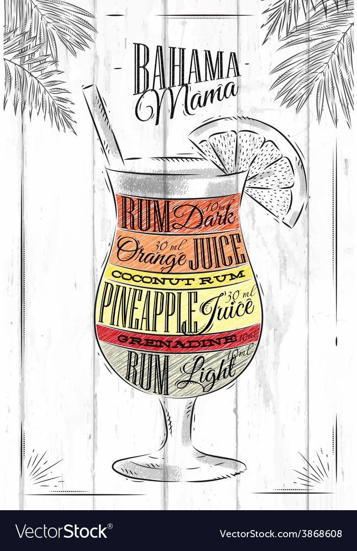 Banama mama cocktail vector | Price: 1 Credit (USD $1)