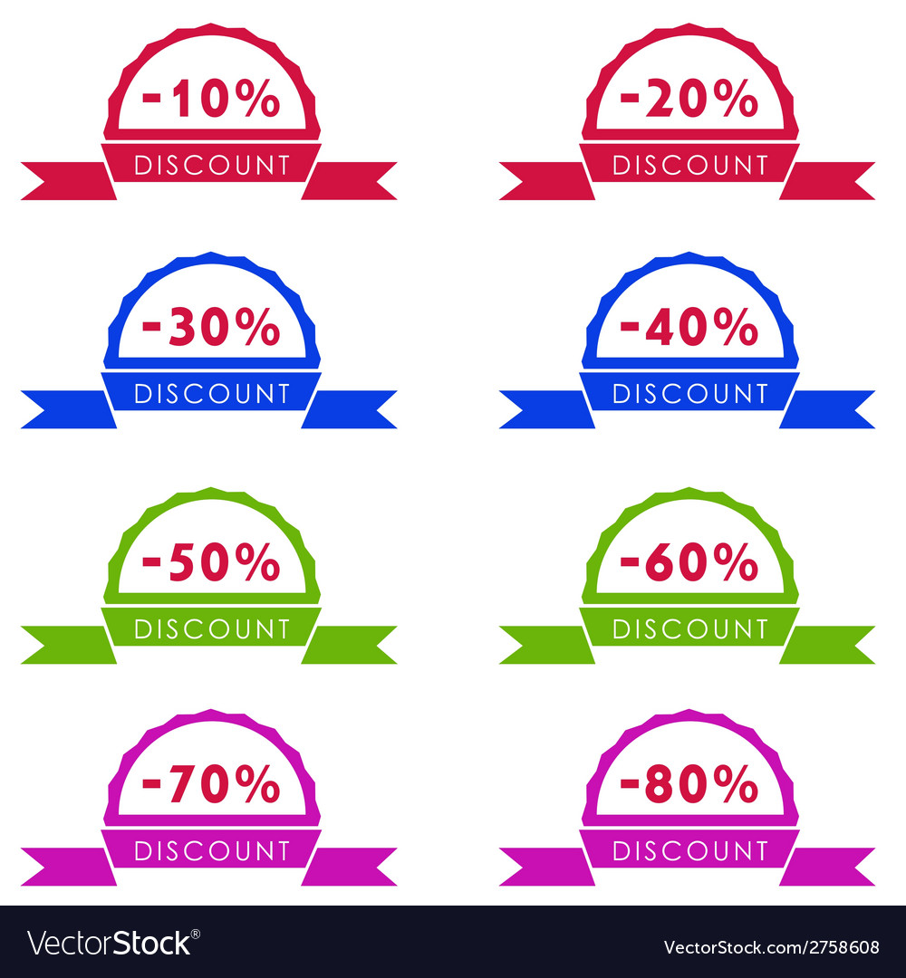 Discount price tag set vector | Price: 1 Credit (USD $1)