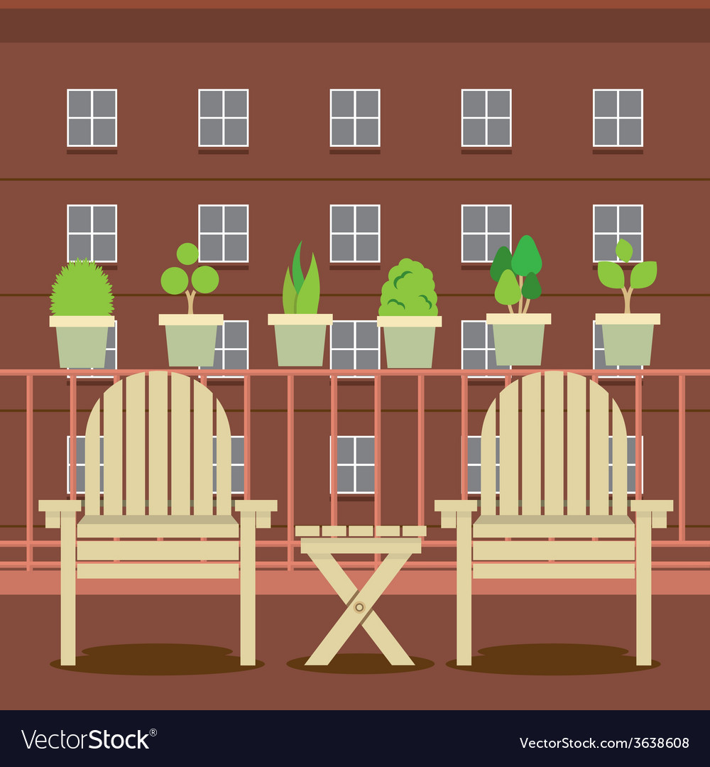 Empty garden chairs at balcony vector | Price: 1 Credit (USD $1)