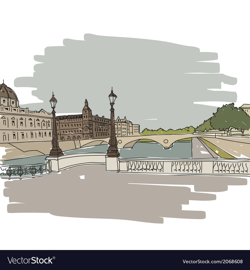 Hand drawn paris cityscape vector | Price: 1 Credit (USD $1)