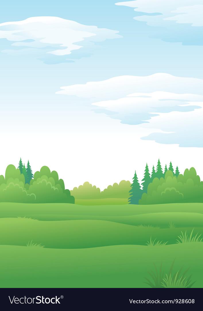 Landscape summer forest vector | Price: 1 Credit (USD $1)