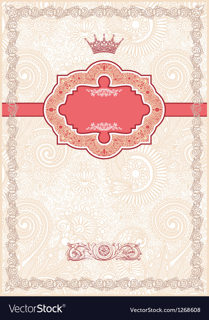 Ornate floral background invitation vector | Price: 1 Credit (USD $1)