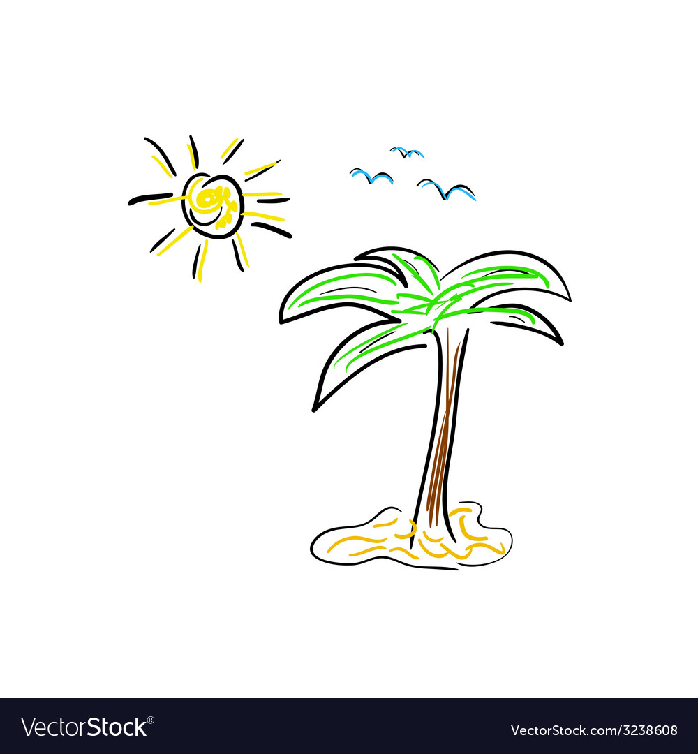 Palm icon cartoon color vector | Price: 1 Credit (USD $1)
