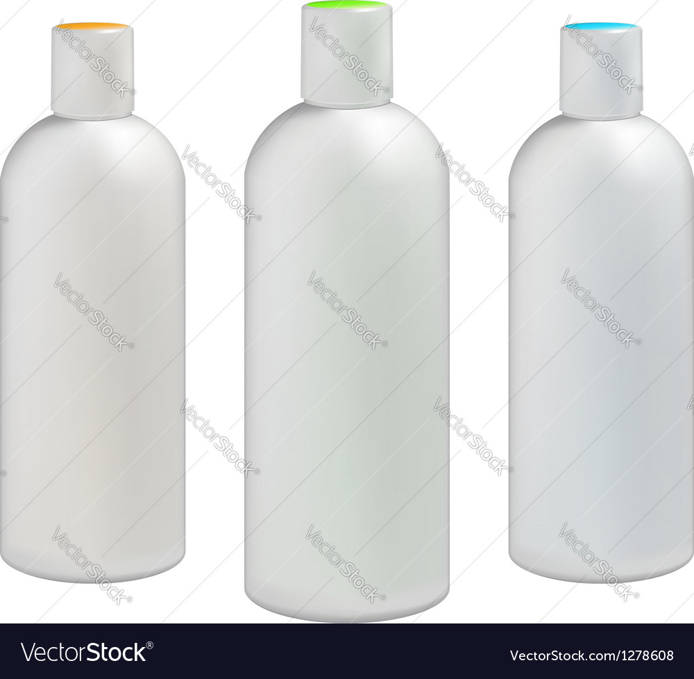 Plastic bottles with colored caps vector | Price: 1 Credit (USD $1)