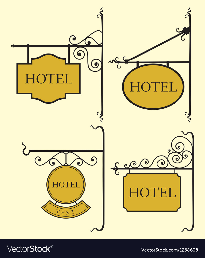 Set of hotel sign board vector | Price: 1 Credit (USD $1)