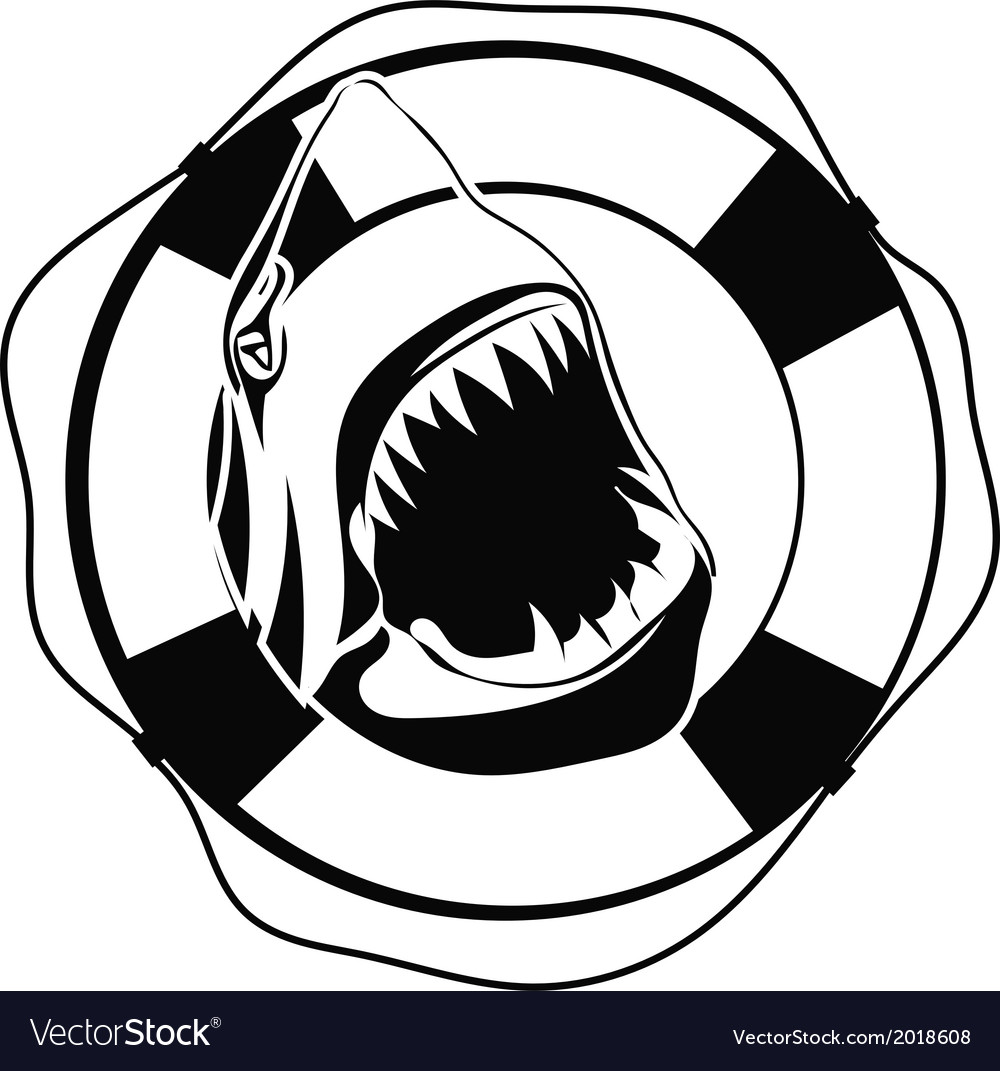 Shark in lifebuoy on a white background vector | Price: 1 Credit (USD $1)