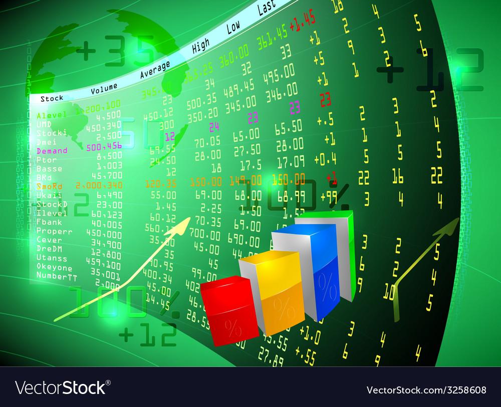 Stock exchange on screen vector   Price: 1 Credit (USD $1)