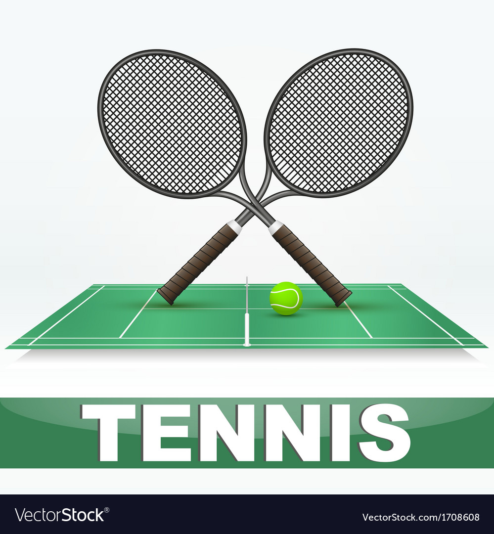 Tennis court and rackets vector | Price: 1 Credit (USD $1)