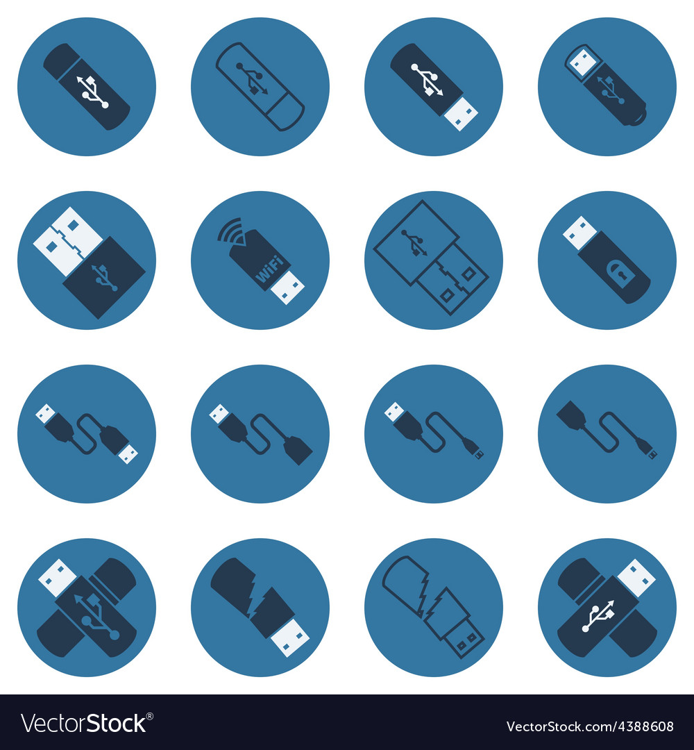 Usb dark blue flat icons vector | Price: 1 Credit (USD $1)