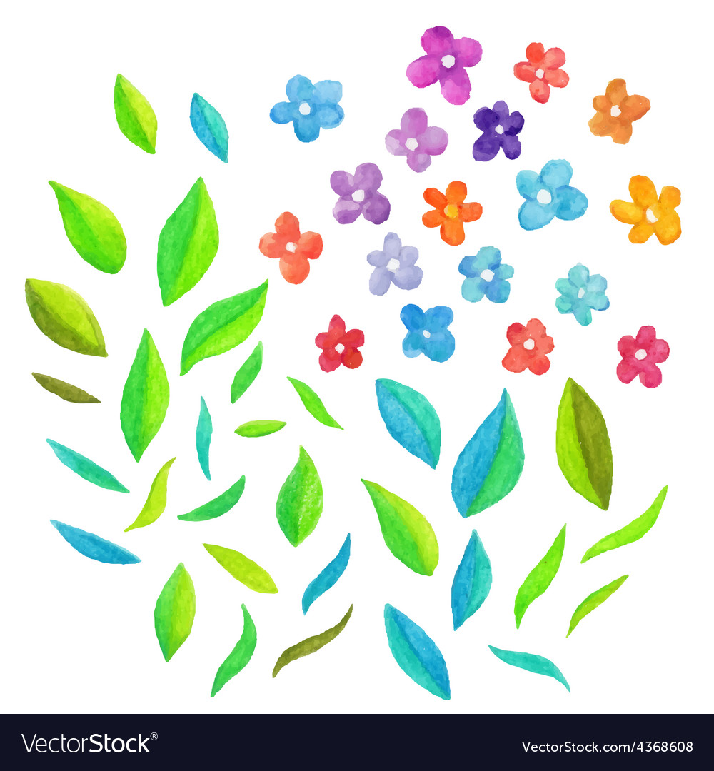 Watercolor floral elements vector | Price: 1 Credit (USD $1)