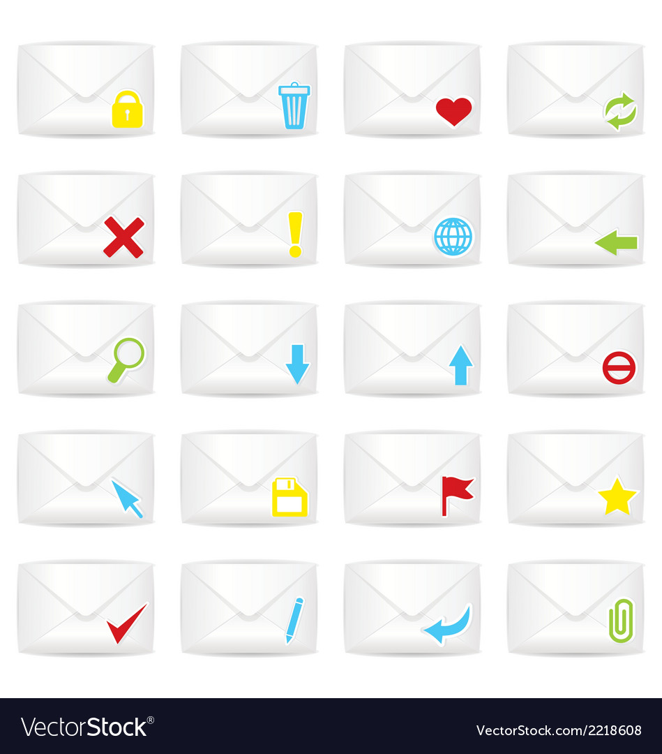 White closed twenty envelopes icon set vector | Price: 1 Credit (USD $1)