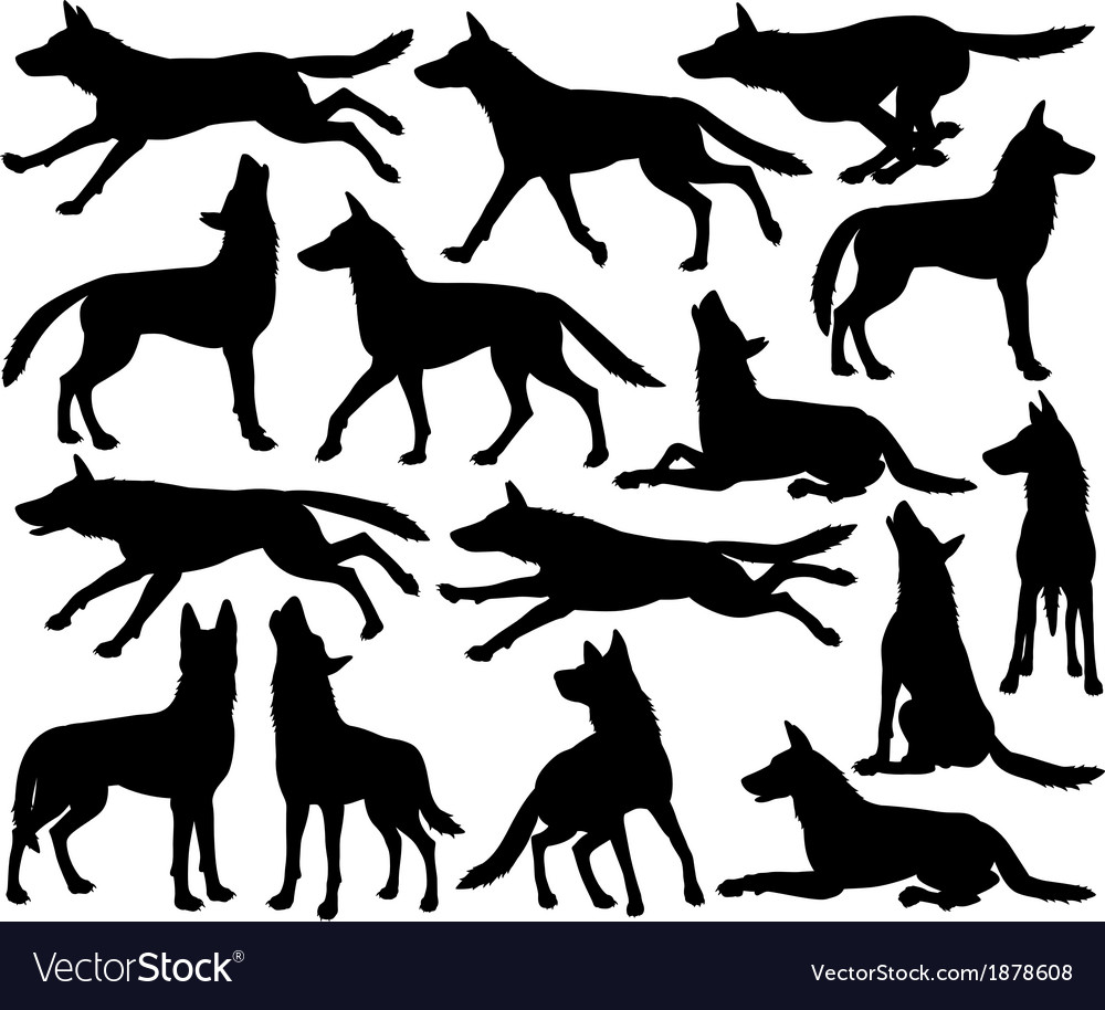 Wolf silhouettes vector | Price: 1 Credit (USD $1)
