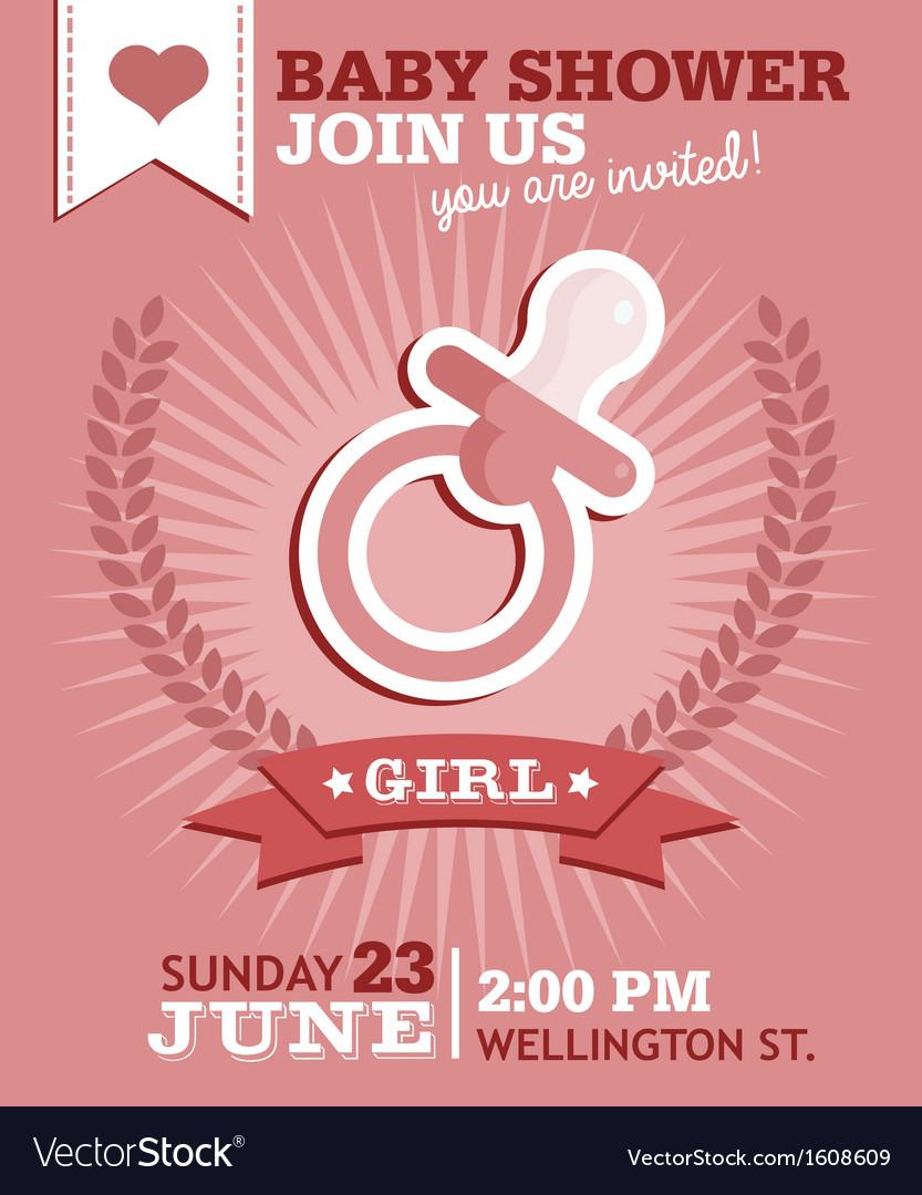 Baby girl shower invitation vector