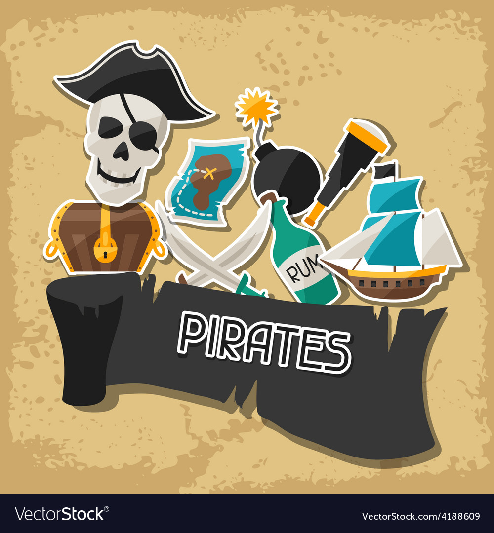 Background on pirate theme with stickers and vector | Price: 1 Credit (USD $1)