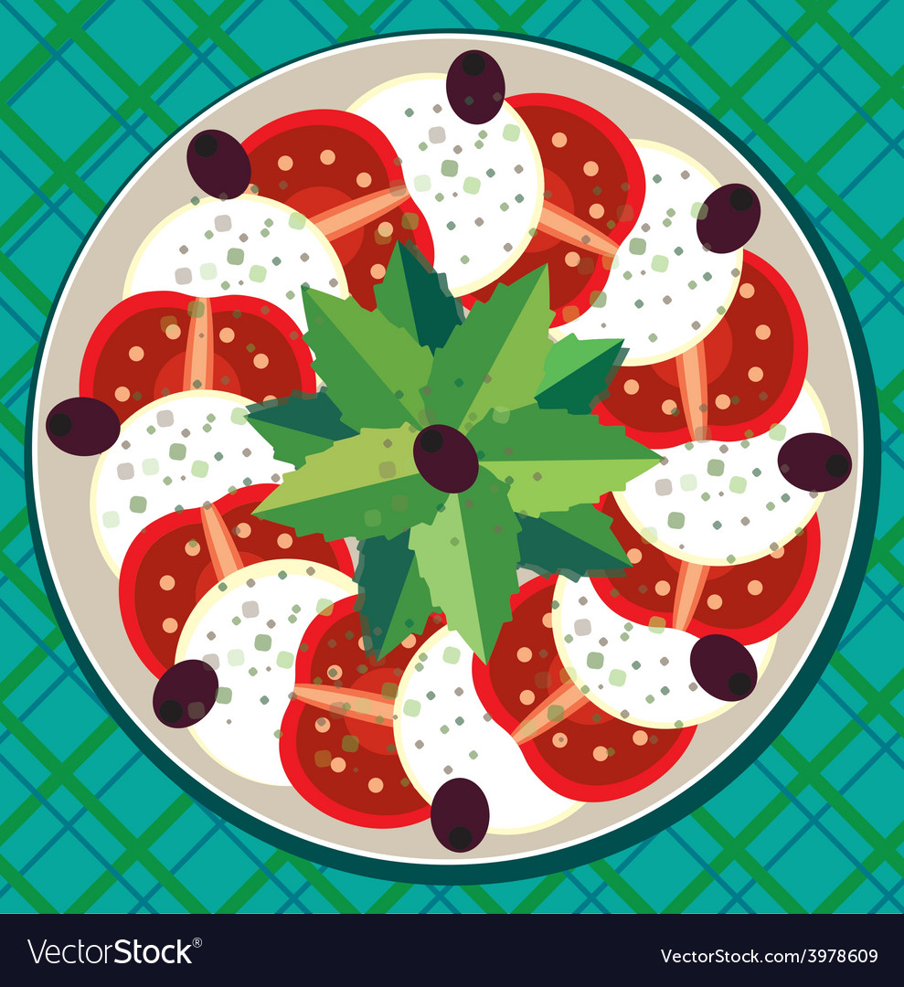Caprese salad on plate vector | Price: 1 Credit (USD $1)