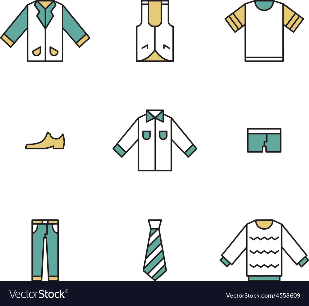 Clothing garments and accessories icons flat vector   Price: 1 Credit (USD $1)