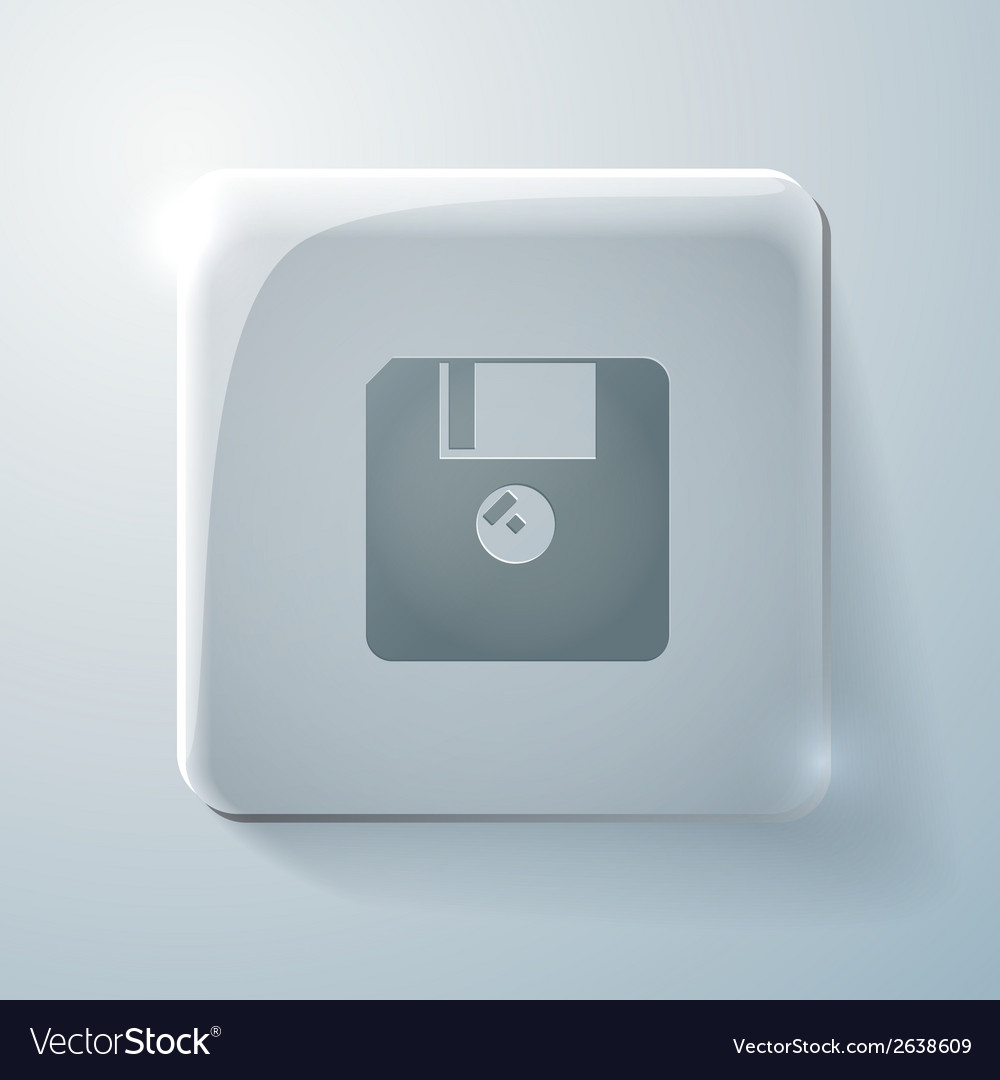 Floppy diskette glass square icon vector | Price: 1 Credit (USD $1)