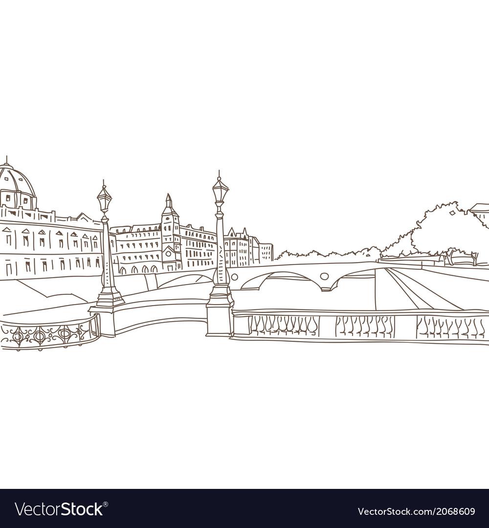 Hand drawn paris cityscape vector | Price: 1 Credit (USD $1)