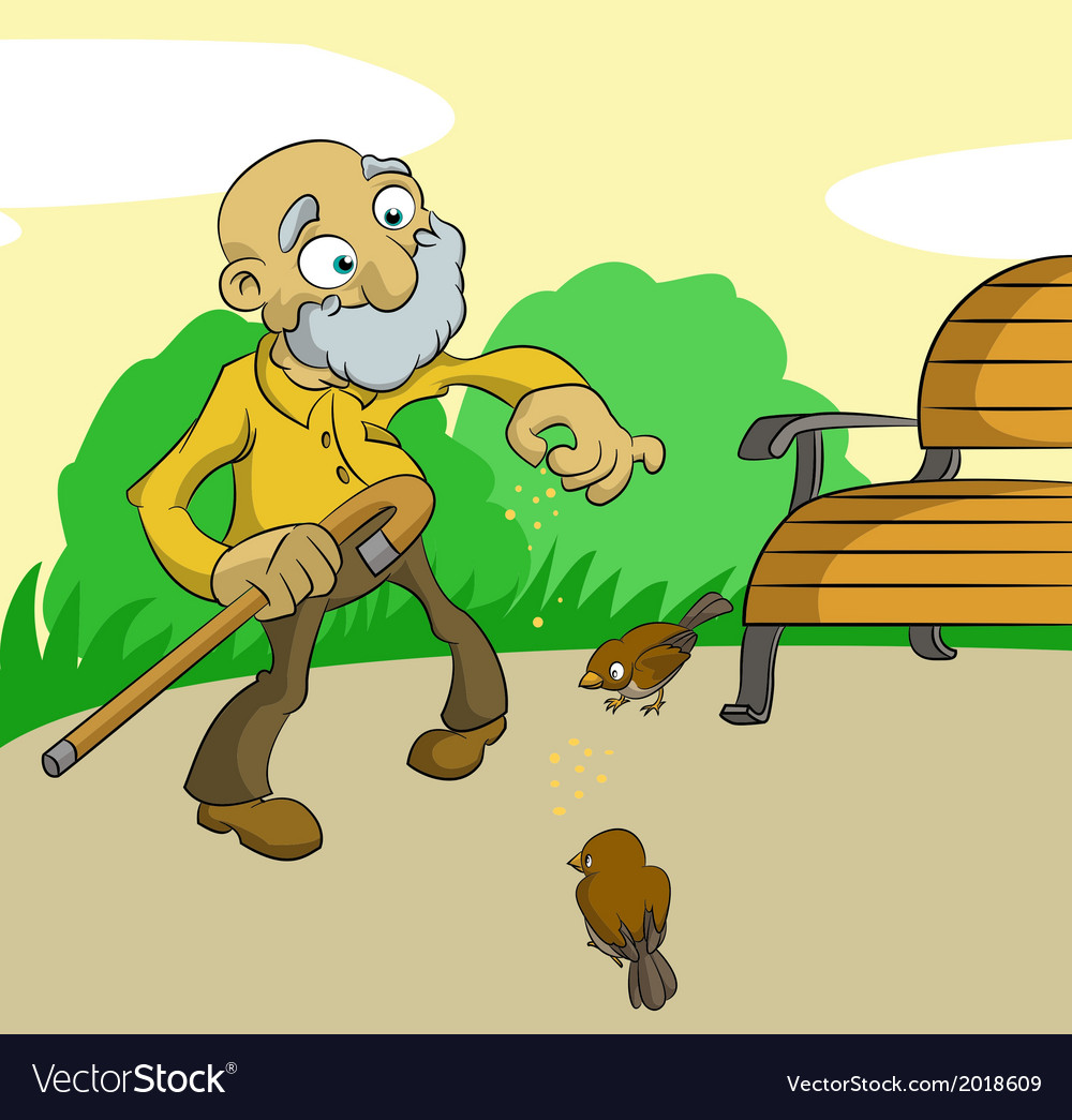 Old man feed birds vector | Price: 1 Credit (USD $1)