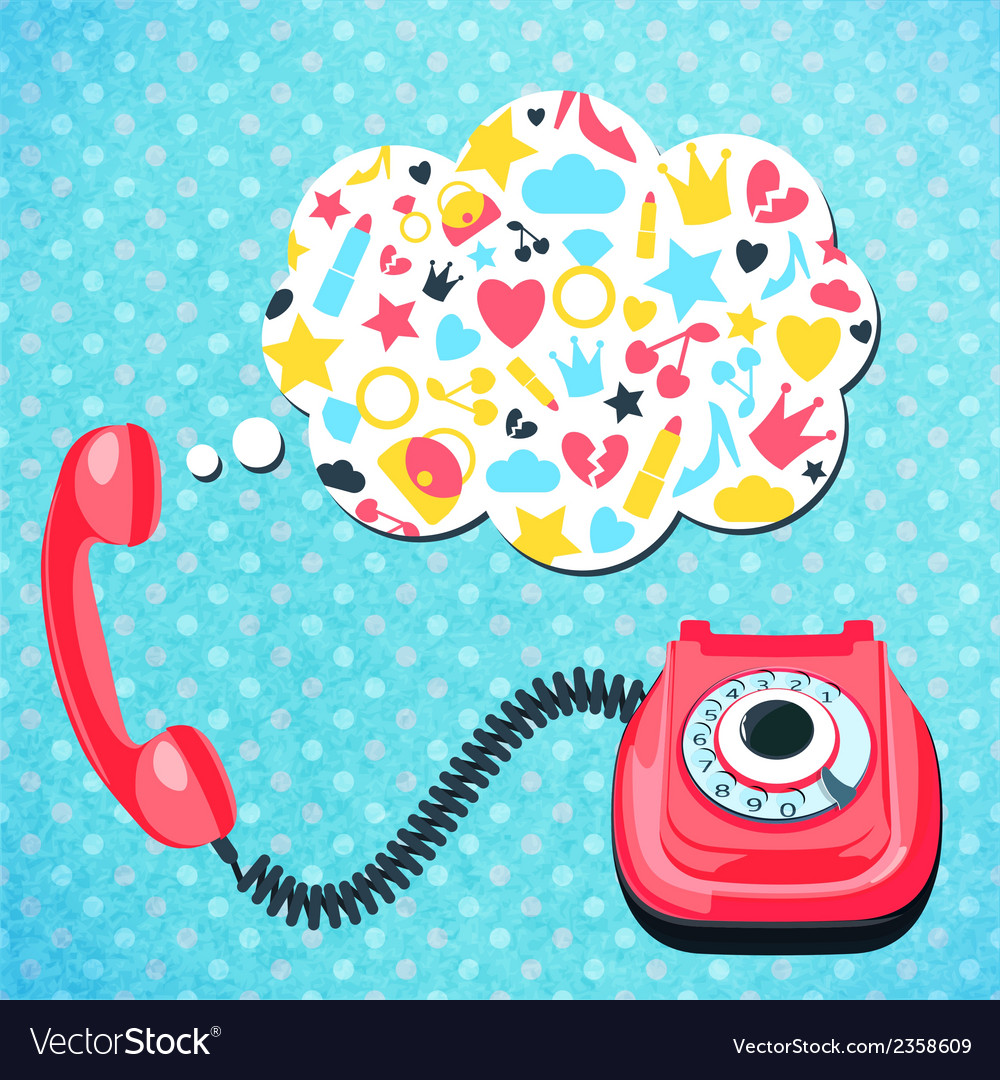 Old telephone chat concept vector | Price: 1 Credit (USD $1)